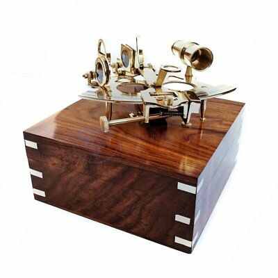 Nautical Pirate's Maritime Astronomical Brass Sextant With Decorative Wooden Box