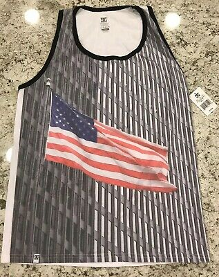 27ed04b395b7a Mens DC Tank Top T Shirt World Trade Center American Flag USA New Size L  Large