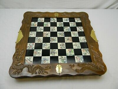 Vintage Chinese Chess Game Dragon Carved Wood Box Faux Jade Engraved Inlaid Tile