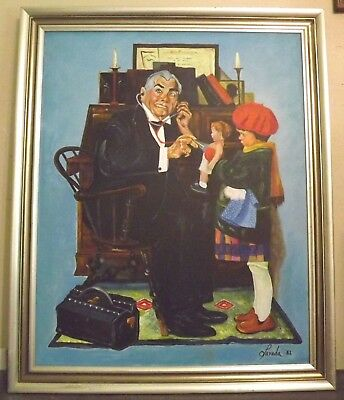 """Signed Parada 82' a take on Rockwell """"Doctor and the Doll"""" oil/canvas Framed"""