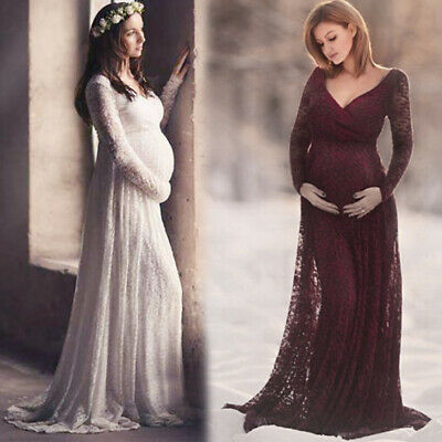 359ec3aa551 V Neck Lace Long Maxi Gown for Pregnant Women Dress Maternity Photography  Props