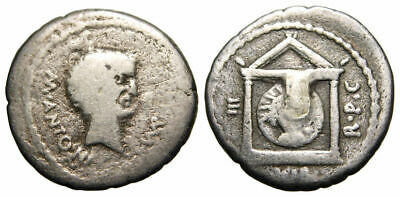 RARE Mark Antony AR Denarius (42 BC), Sol in a temple