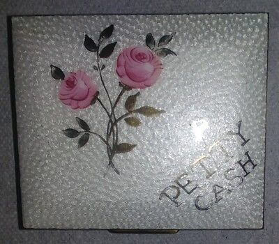 Vintage White Enamel on Brass Petty Cast Compact Box Pink Rose Gold leaves