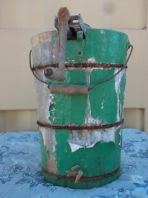 1920-30s Vintage SNOW BALL 4Qt Hand Crank Ice Cream Maker-Steel Frame/Cedar Tub