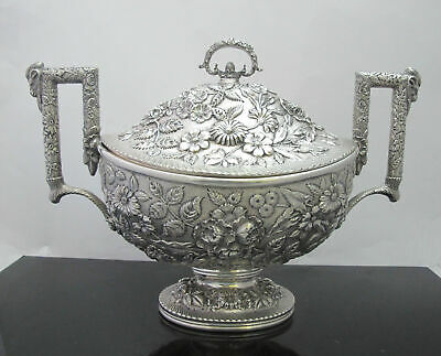 """Antique Finely Detailed S KIRK & SON Sterling Silver REPOUSSE Tureen w/Lid 15"""""""