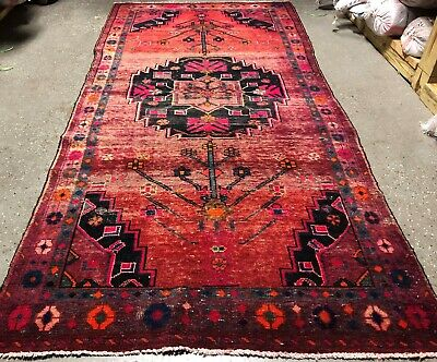 """VINTAGE PERSIAN HERIZ MUJTABA 4'.8""""X10' Hand knotted 100% Wool Rug DS-538"""