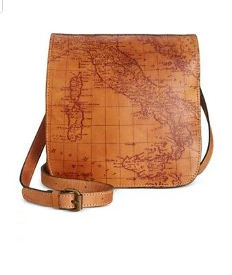 Patricia Nash Riot S8gnature Map Granada Vintage Leather Messenger Crossbody Bag