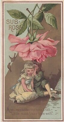 Antique Victorian To My Valentine Card Secret Under The Rose Sub Rosa - By Prang