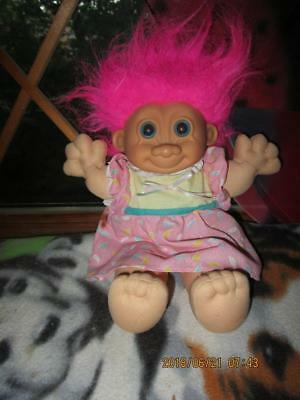 Russ  Large 10 Inch Tall Girl Troll Doll  In Cute Party Dress