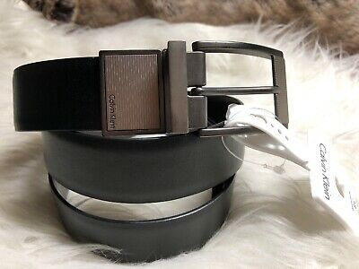 NWT CK Calvin Klein Mens Reversible Belt In Brown & Black Leather Size 38