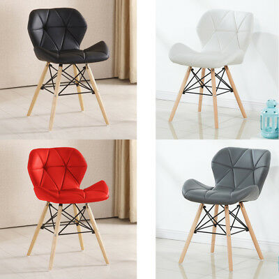 Leather Eiffel Dining Chair with Padded Seat in White, Black, Grey or Red Cafe