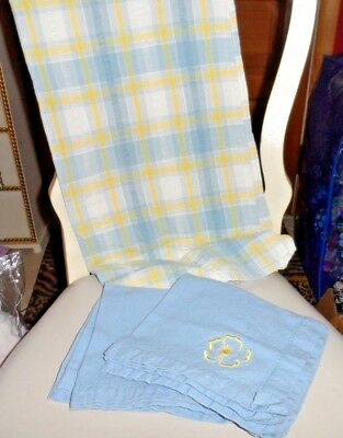 "Blue, white and yellow check tablecloth 48"" x 52* with 4 matching napkins"