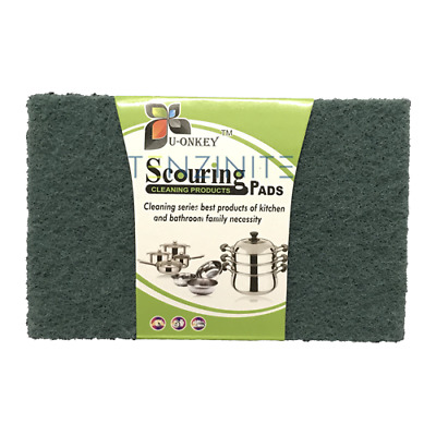 U-Onkey Heavy Duty Green Scourer Pads 10 Per Pack