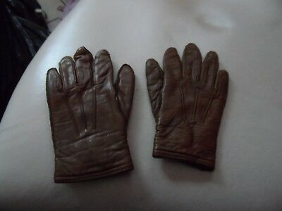 Vintage 1960's  pair of little girls of brown leather gloves by Nolan