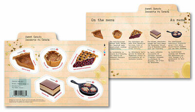 2019 Canada Sweet Canada: Souvenir Sheet 5 Stamps Recipes 2 Sides