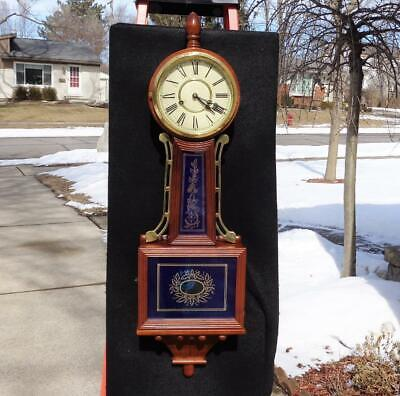 Vintage Large Walnut Banjo Wall Clock Vibrant Blue Gold Painted Glasses Dial