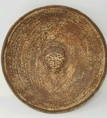 """Mayan- Aztec Red Clay Terracotta Bowl With Center Facial Sculpture 13"""""""