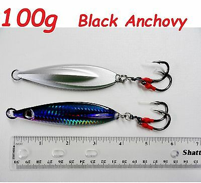 100g (3.5oz) Fast Fall Vertical Keel Flat Knife Jigs Black Anchovy Fishing Lures