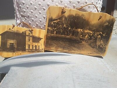 Two Antique Photos on Wood With Leather Handles Caldwell Kansas Decor Vintage