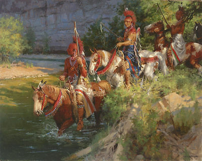 """Andy Thomas """" Osage Patrol Crossing """"Canvas Artist Proof # 6 of 15 Issued W/Cert"""