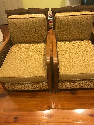 Jacobean antique lounge. Ex cond. original restored. Gold. Couch + chairs x 2.