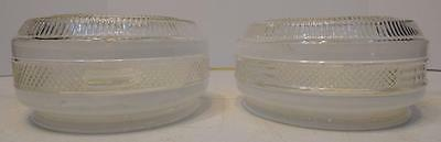 Set Of 2 Vtg White And Clear Small Round Glass Ceiling Mount Light Shades Globes