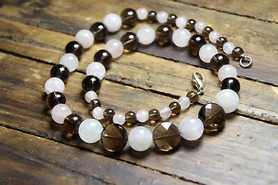 Pink Rose Quartz & Brown Smoky Quartz 7mm & 10mm Ball Gemstone Necklace 19""