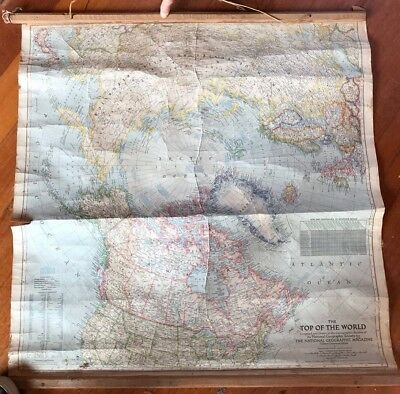 Vintage School Roll Down Teaching Map: The Top Of The World. National Geographic