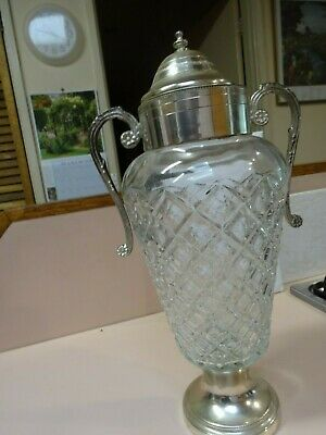 Vintage ITALIAN cut glass urn with silver plate ARG 1000/1000 rim and base.