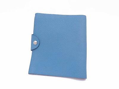 Auth HERMES Square R (2014) Ulysse Note Cover Blue Leather/Silvertone - e40264