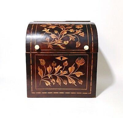 Antique Dutch Mahogany Marquetry Decanter Box / Tantalus, Late 18th C. Georgian