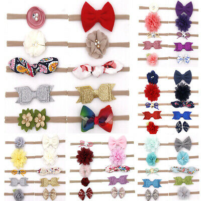 10Pcs/set Baby Girls Infant Toddler Flower Bow Headband Hair Band Accessories