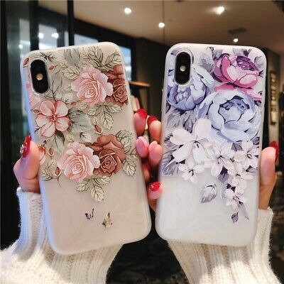 Embossed Flowers Soft Silicon TPU Phone Case for Samsung Galaxy S6 S7 S10 S10e
