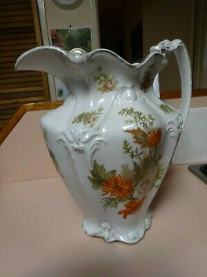 Victorian-era  large floral WATER PITCHER.