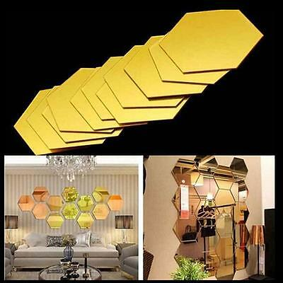 Wall Stickers Mirror Hexagon Square Vinyl Removable Decal Home Decor Art LI