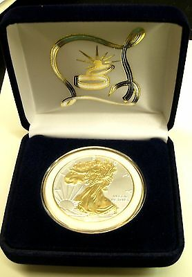 SPECIAL>WEDDING DAY GIFT! 1oz 2019* 999 SILVER EAGLEw/Gilded 24KT Gold&Wht Rim$1