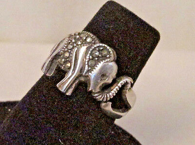 925 Sterling Silver Marcasite Elephant Trunk Up Band Ring Size 6