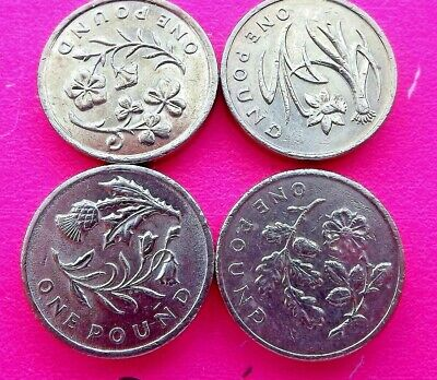 2013/2014 - (Circulated) - England, Ireland, Scotland, Wales Floral £1 Coins
