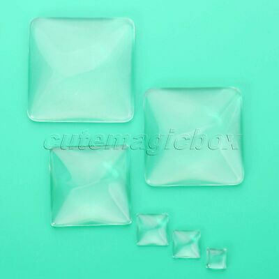 Square 10-54mm Clear Transparent Domed Magnifying Glass Cabochon Cover DIY Craft