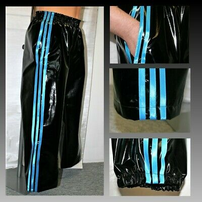 Black /& Golden Yellow 4XL NOW WITH POCKETS PVC Track Pants S