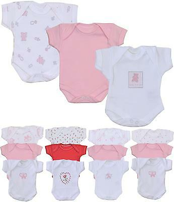 BabyPrem Premature Preemie Baby Girls Clothes 3 Pack Bodysuits Vests 1lb - 7.5lb