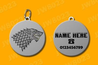 Personalized Unique Game of Thrones House Stark dog cat pet ID Name Tag