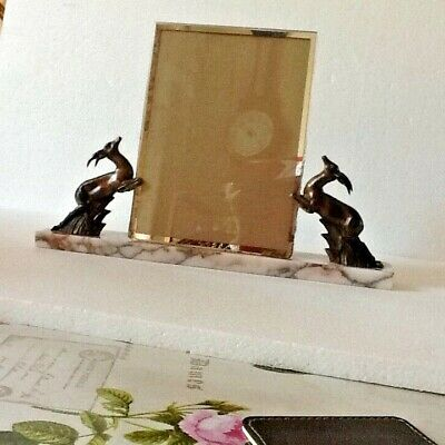 Art Deco Frame with Deer on a Marble Base