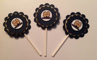 Ncaa Notre Dame Cupcake Toppers Birthday Anniversary Party Supplies Handmade New