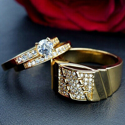 18K Yellow Gold Plated Couple Ring Womens Mens Wedding Rings Jewelry Gift SZ6-12