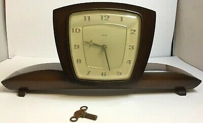 Art Deco Style Smiths Buckingham Mechanical Key Wind Mantel Mantle Clock - Runs