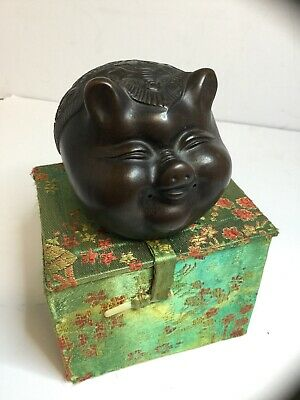 Vintage Chinese Decorative Smiling Happy Pig Ornament, Year Of The Pig, Taipan