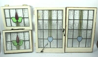 a Set of 4  1930's Vintage Leaded Stained glass Windows [5100]