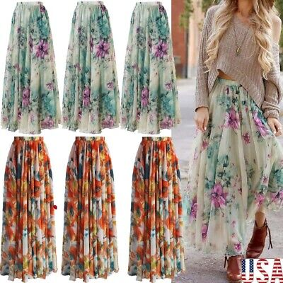 31de0f5688667 USA CHIFFON BOHO Womens Floral Jersey Gypsy Long Maxi Full Skirt ...