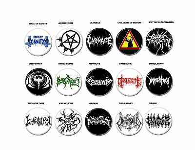 Death Metal band buttons (badges,pins, heavy metal, patch, tees, t-shirt, vinyl)